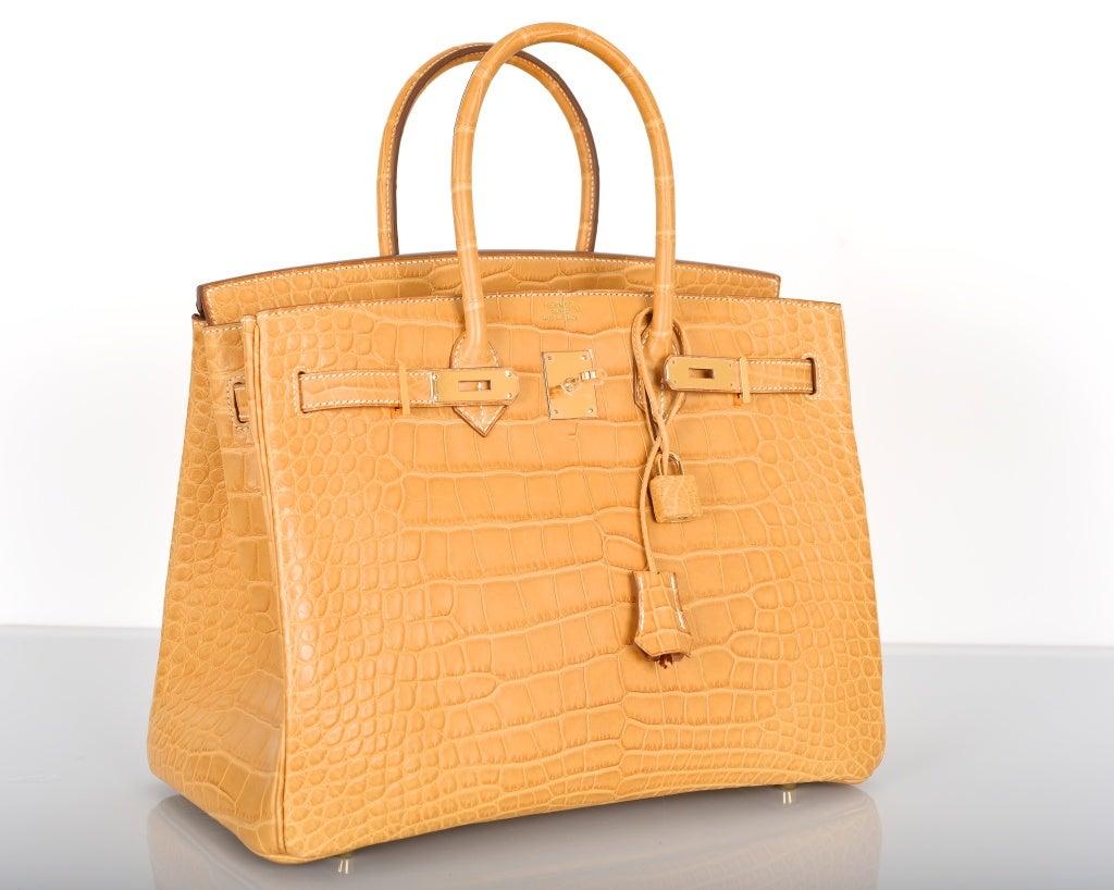 NEW COLOR HERMES BIRKIN BAG 35cm CROCODILE MATTE MAIS W ...