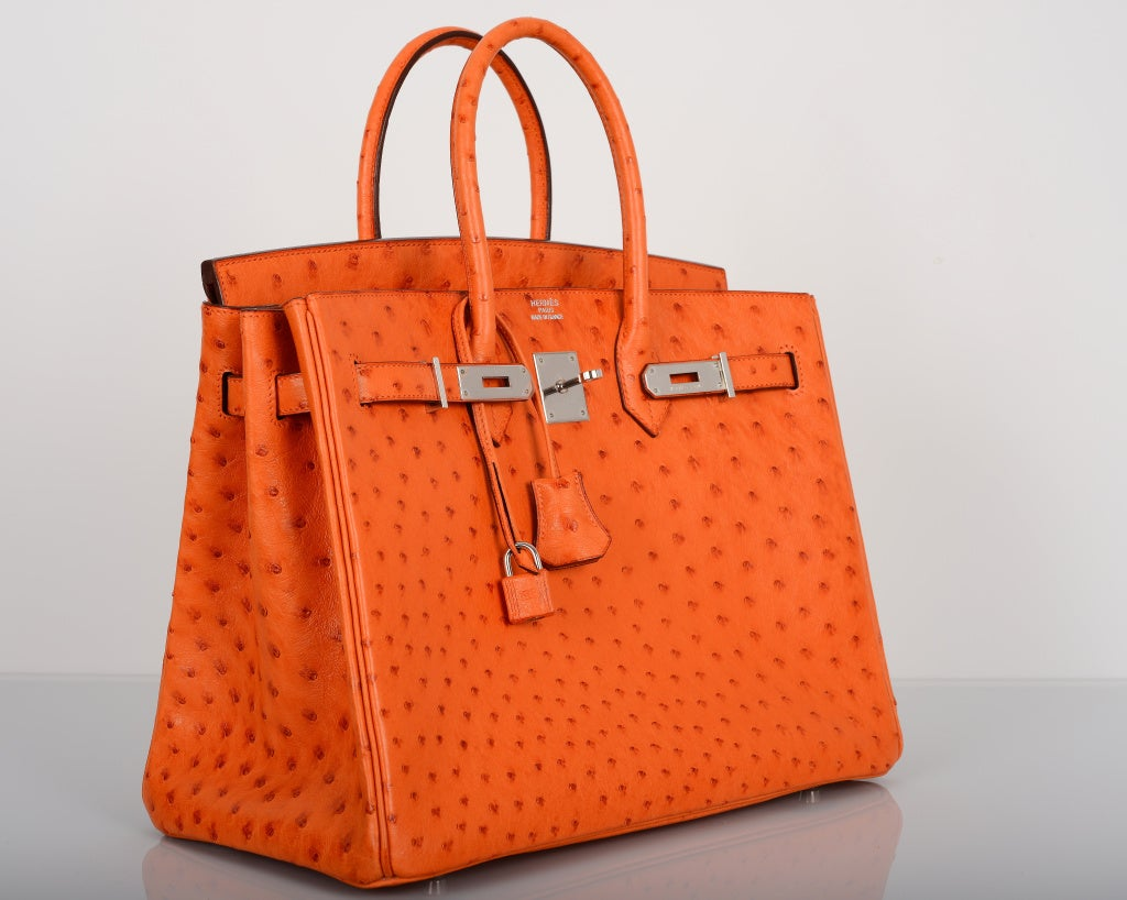STUNNING HERMES BIRKIN BAG 35CM OSTRICH LEATHER TANGERINE ORANGE ...