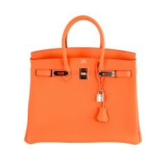 HERMES BIRKIN BAG 35CM HOT ORANGE 35CM PALLADIUM HARDWARE