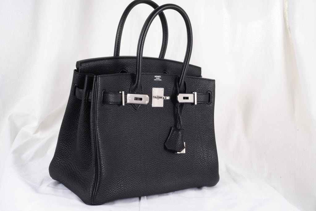 inexpensive leather purses - HERMES BIRKIN BAG 30cm BLACK WITH PALLADIUM HARDWARE at 1stdibs
