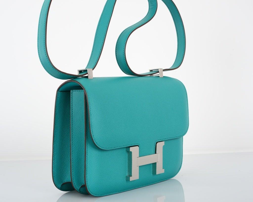 birkins handbags - HERMES CONSTANCE BAG 18cm DOUBLE GUSSET BLUE PAON EPSOM LEATHER at ...