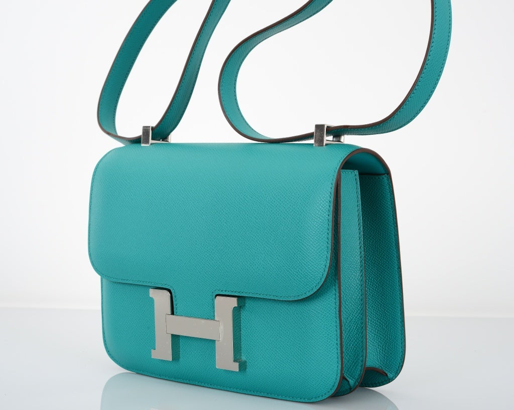 HERMES CONSTANCE BAG 18cm DOUBLE GUSSET BLUE PAON EPSOM LEATHER at ...