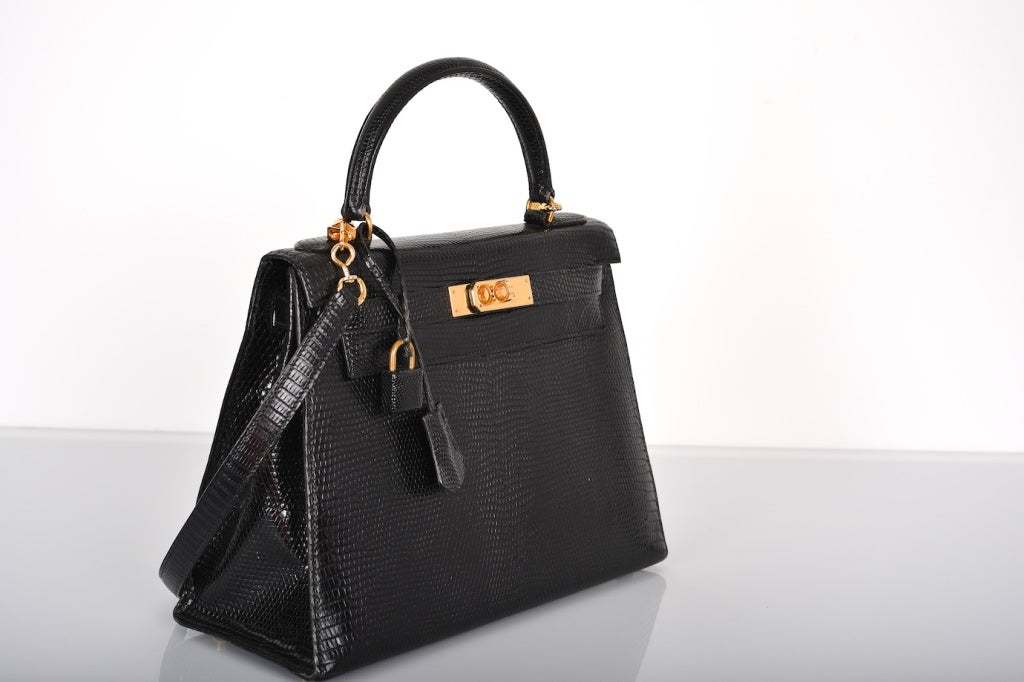 VERY SPECIAL HERMES KELLY BAG 28cm BLACK LIZARD GOLD HARDWARE ST ...