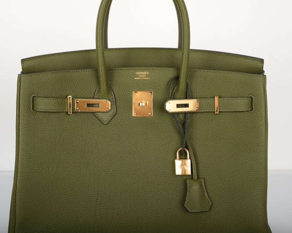 Love This New Color! HERMES BIRKIN BAG 35CM CANOPEE GOLD HW at 1stdibs