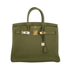 LOVE THIS NEW COLOR! HERMES BIRKIN BAG 35CM CANOPEE GOLD HW