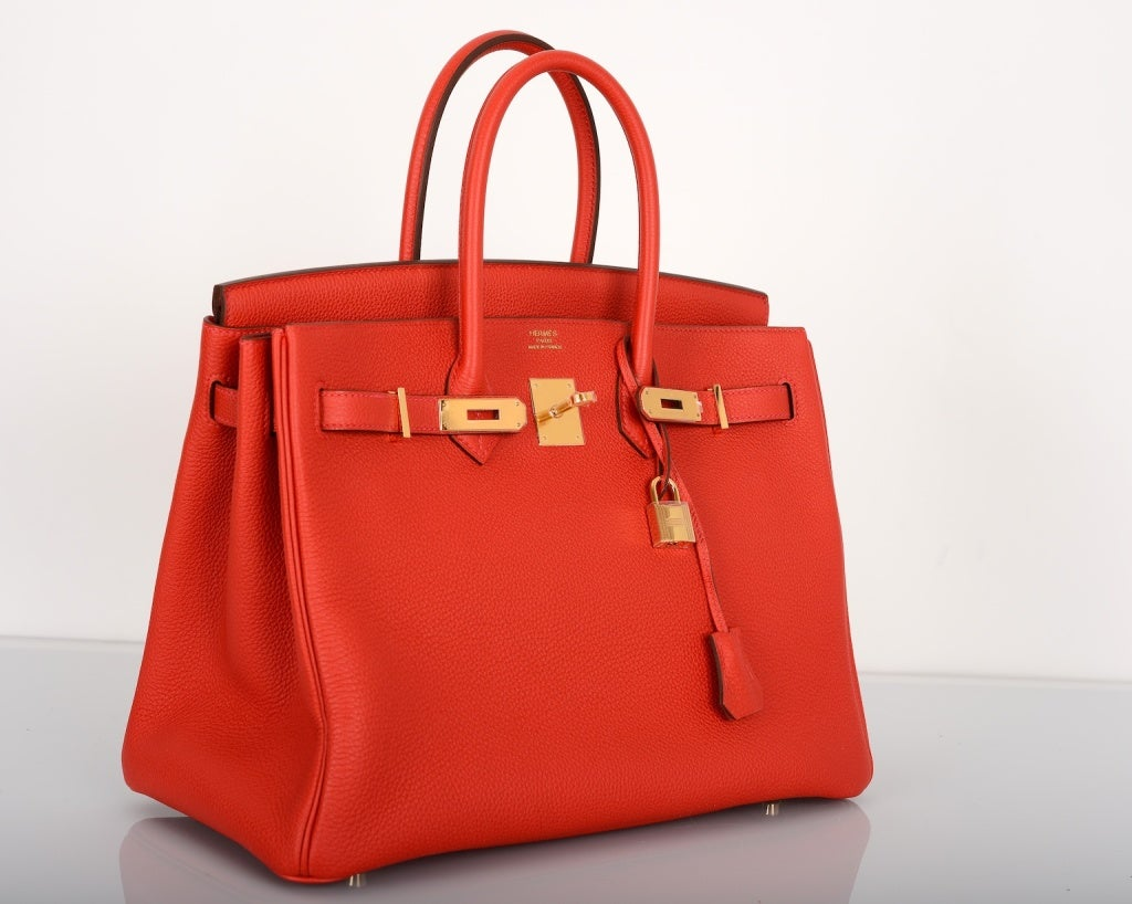 bags hermes - NEW RED HERMES BIRKIN BAG 35CM GERANIUM GOLD HARDWARE at 1stdibs