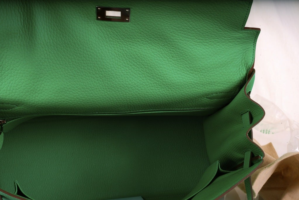 HERMES KELLY BAG 35CM MENTHE MINT OMG COLOR! image 6
