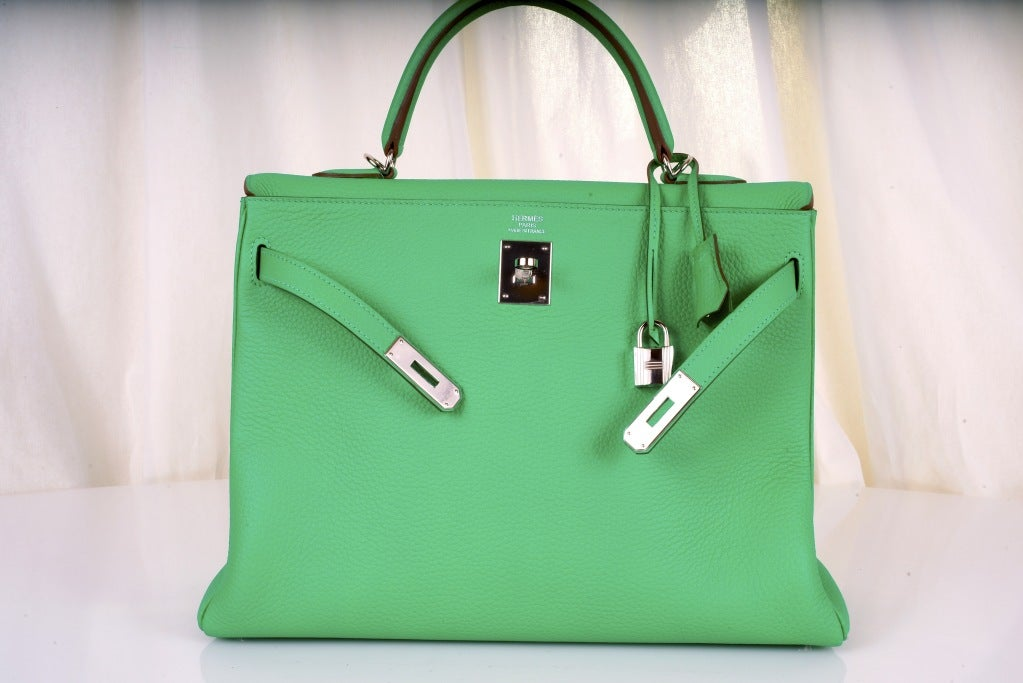 HERMES KELLY BAG 35CM MENTHE MINT OMG COLOR! image 7