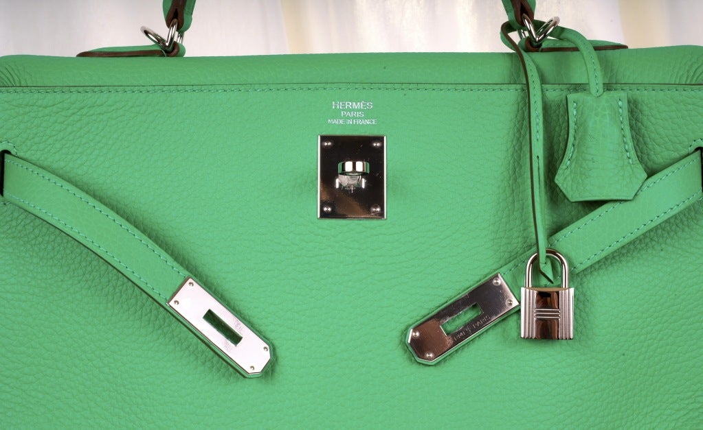HERMES KELLY BAG 35CM MENTHE MINT OMG COLOR! image 8