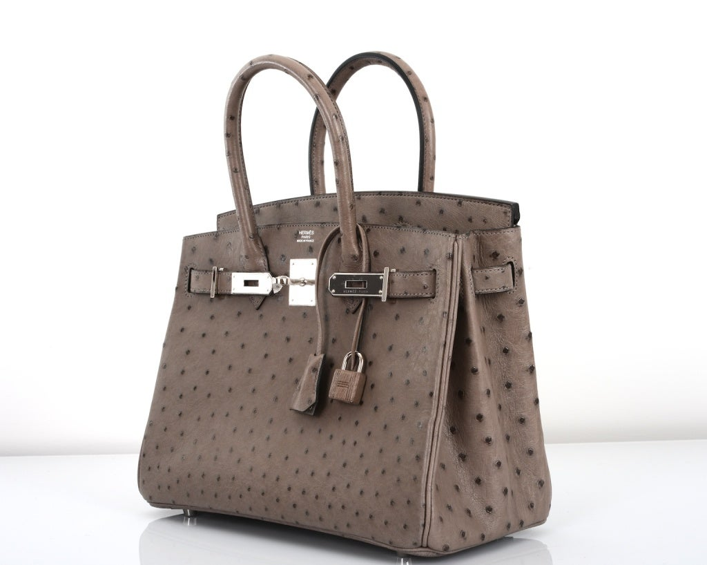 replica hermes evelyne bag - HERMES BIRKIN BAG 30cm GRIS TOURTERELLE DOVE GREY OSTRICH at 1stdibs