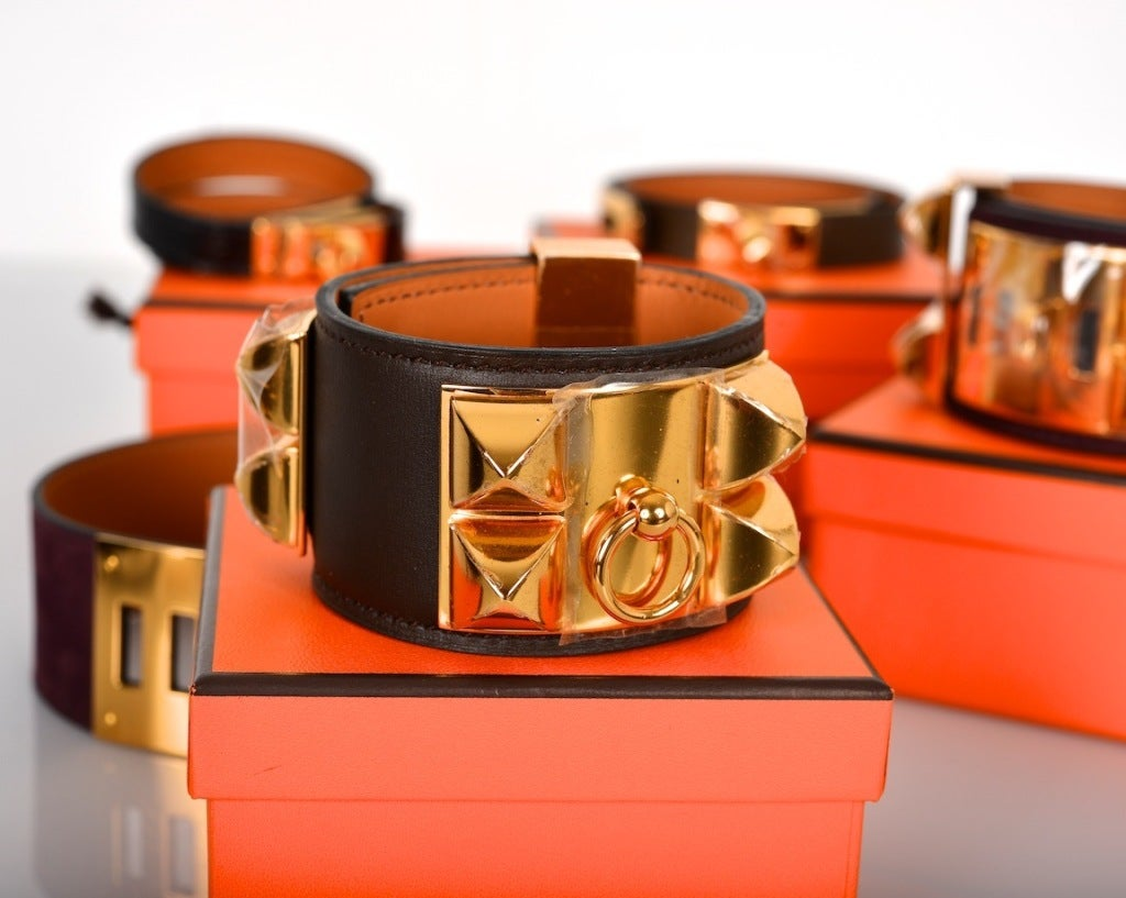 Amazing Hermes Cdc Chocolate Bracelet Leather Gold Hardware At 1stdibs