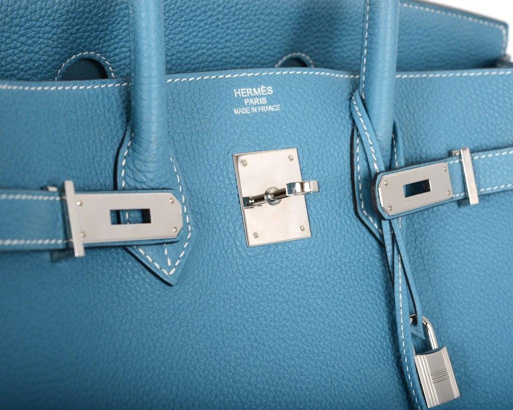 hermes birkin togo jean tote bag blue