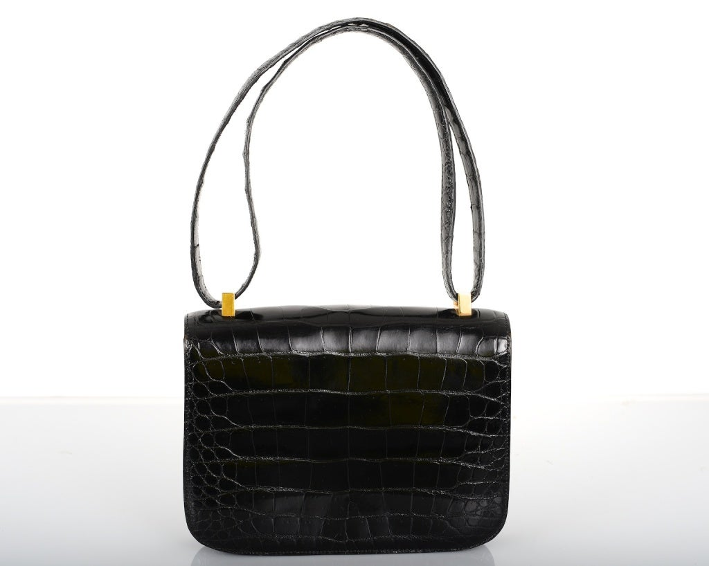 HERMES CONSTANCE BAG CROCODILE BLACK WITH GOLD 23CM MUST HAVE at ...