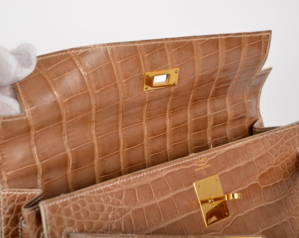 HERMES KELLY 32cm CROCODILE BAG POUDRE GOLD HARDWARE STUNNING! at ...