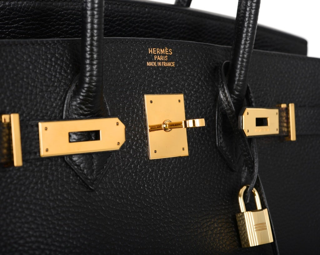 HERMES 35CM BIRKIN BAG BLACK WITH GOLD HARDWARE ARDENNE LEATHER image 4