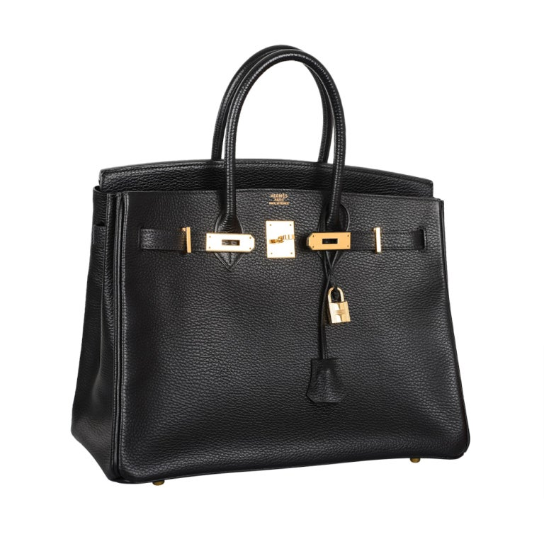 HERMES 35CM BIRKIN BAG BLACK WITH GOLD HARDWARE ARDENNE LEATHER