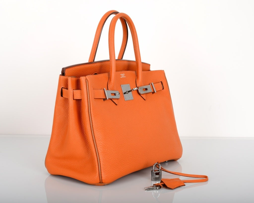 hermes for sale  - VERY SPECIAL HERMES BIRKIN BAG 30CM HOT ORANGE WITH BROWN PIPING ...