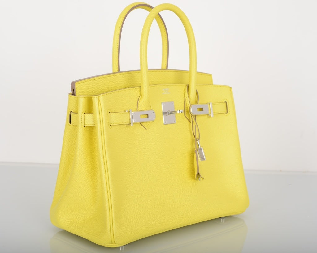 NEW YELLOW HERMES BIRKIN BAG 30CM GORGEOUS LIME SOUFRE EPSOM W P ...