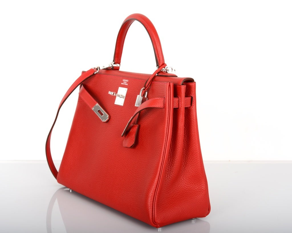who makes birkin bags - HERMES KELLY BAG 35cm ROUGE CASAQUE WITH PALLADIUM TOGO at 1stdibs