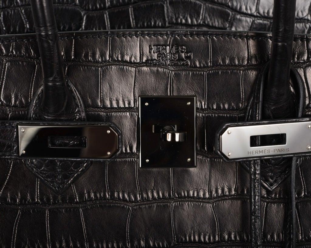 Wow! Bag Limited Hermes Birkin Bag Black Matte So Black Croc at ...