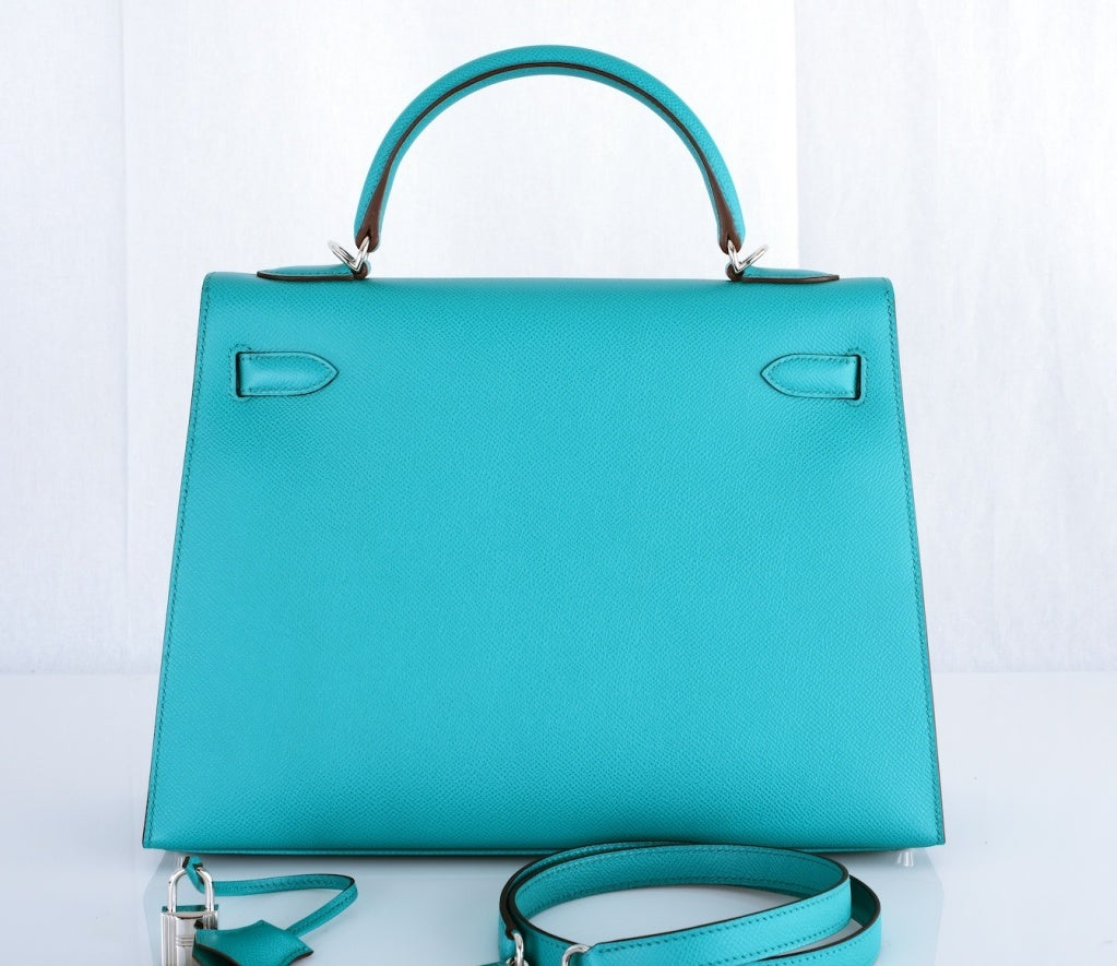 hermes birkin 30 epsom leather blue paon phw