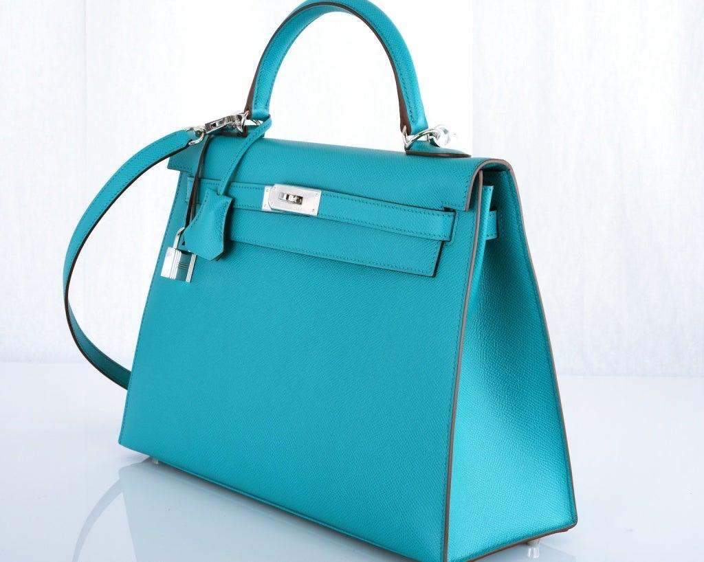 Gorgeous HERMES KELLY BAG 35CM BAG BLUE PAON EPSOM PHW at 1stdibs
