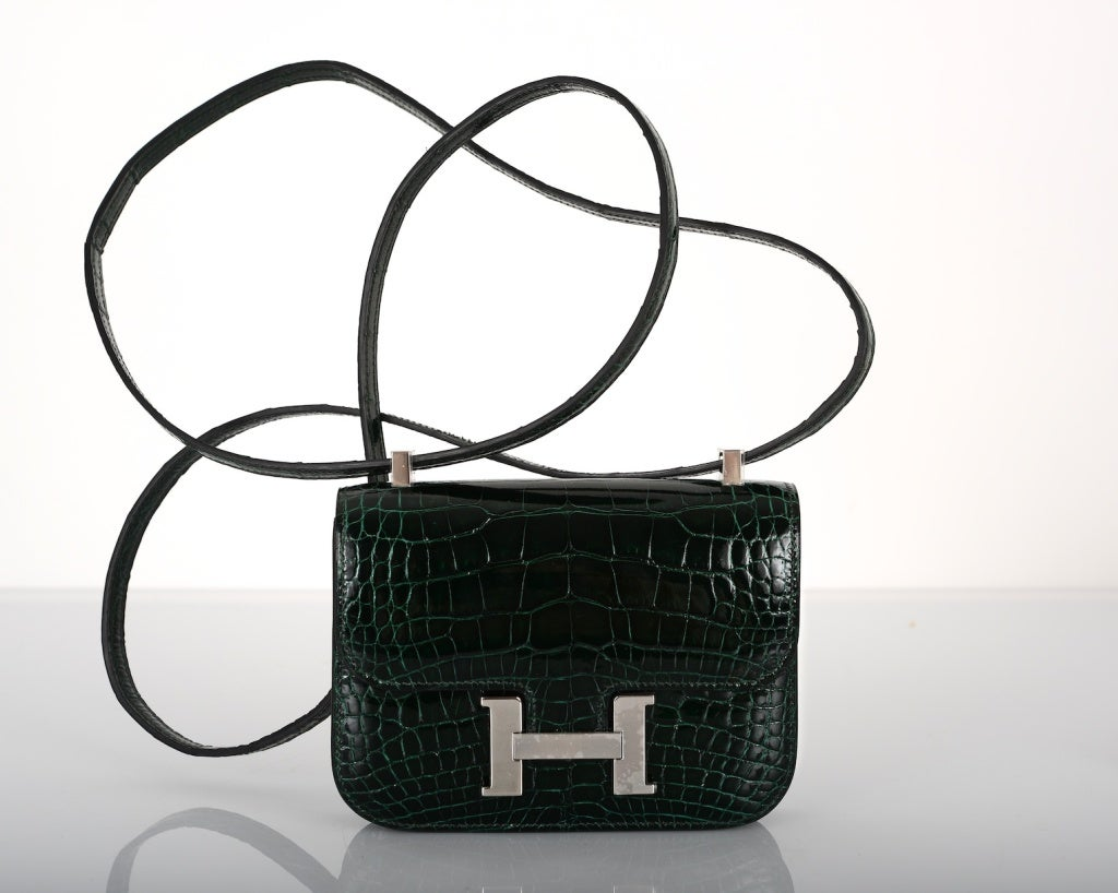 IMPOSSIBLE FIND! HERMES CONSTANCE BAG CROCODILE VERT FONCE MICRO ...