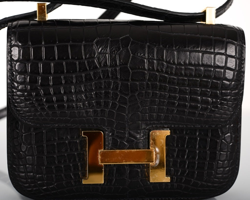 HERMES CONSTANCE BAG BLACK CROCODILE MICRO MINI W GOLD HARDWARE at ...