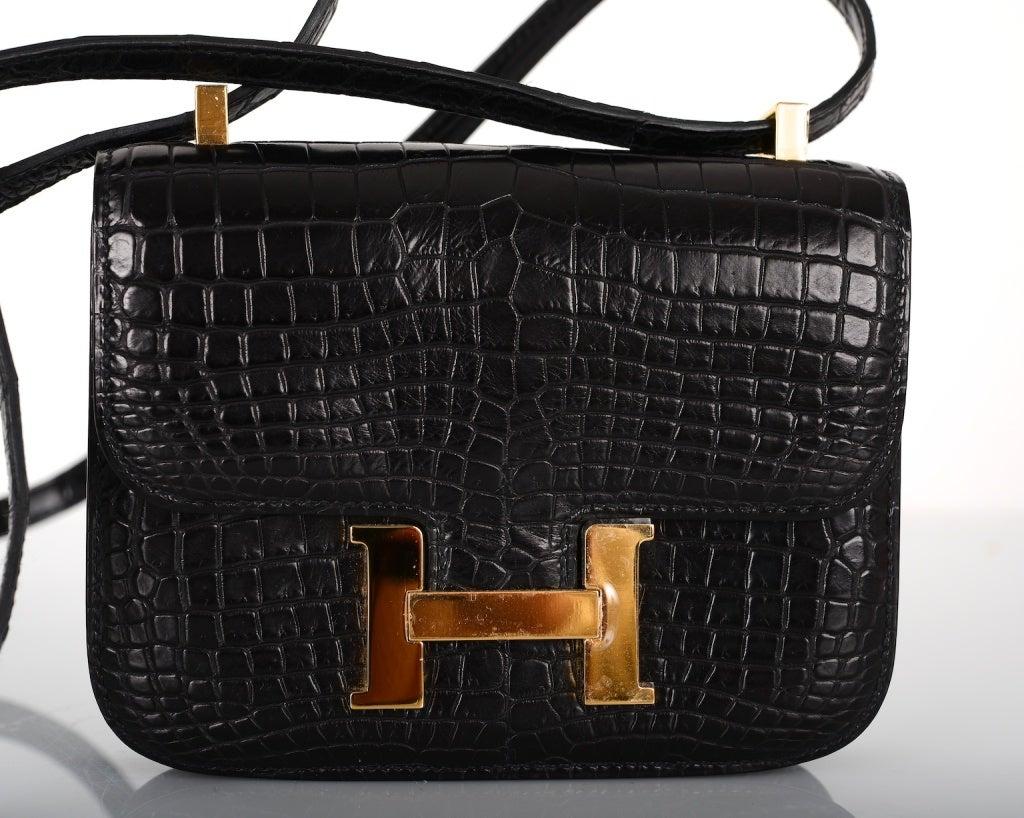 HERMES CONSTANCE BAG BLACK CROCODILE MICRO MINI W GOLD HARDWARE at ...