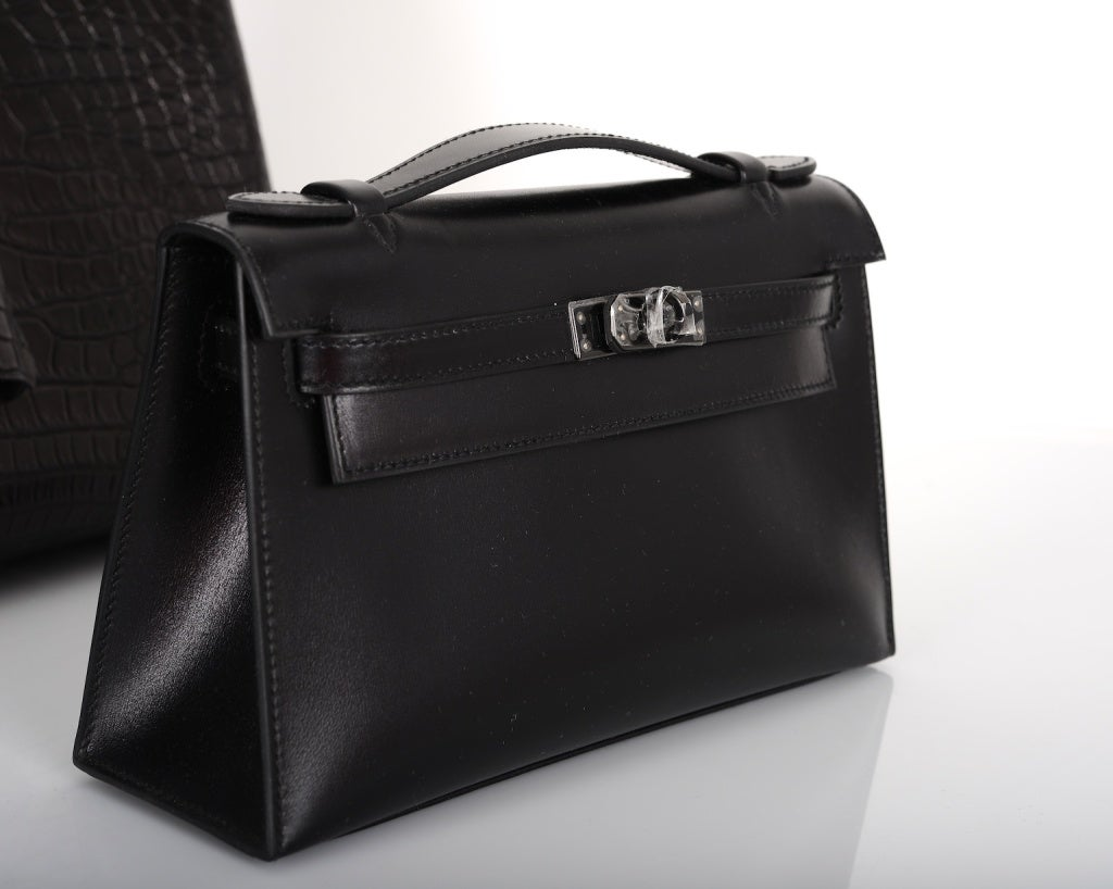 replica birkin bags for sale - Hermes Kelly Pochette Handbag Limited Edition So Black at 1stdibs
