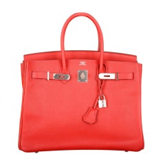 NEW CANDY COLOR! HERMES BIRKIN BAG 35CM RED ROUGE CASAQUE W PALL
