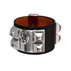 WOWZA! HERMES CDC BLACK BRACELET LEATHER w PALLADIUM HARDWARE