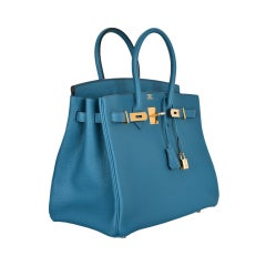 NEW COLOR HERMES 35CM BIRKIN BAG BLUE COBALT WITH GOLD HW