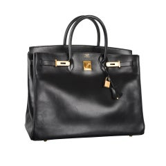 URBAN LEGEND HERMES BIRKIN BAG 40cm BLACK BOX W GOLD HARDWARE
