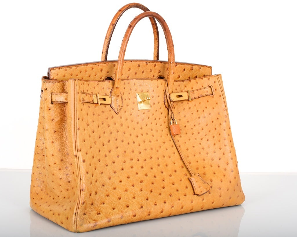 rare vintage gorgeous hermes birkin bag gold 0strich 40cm with g at 1stdibs. Black Bedroom Furniture Sets. Home Design Ideas