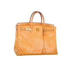 RARE VINTAGE GORGEOUS HERMES Birkin BAG GOLD 0STRICH 40cm WITH G