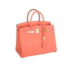 NEW STUNNING COLOR HERMES BIRKIN BAG CREVETTE GORGEOUS GOLD HW