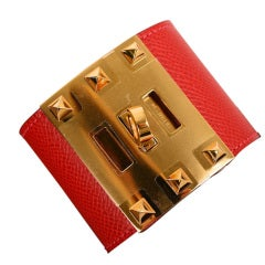 ONLY JF HERMES RED ROUGE CASAQUE KELLY EXTREME W GOLD HARDWARE S