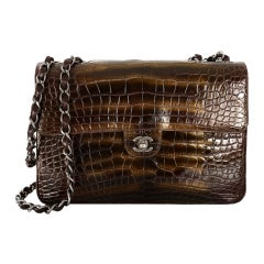 36K RUNWAY CHANEL JUMBO FLAP BAG CROCODILE BRONZE INCREDIBLE