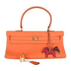HERMES KELLY BAG JPG SHOULDER ORANGE WITH GOLD HARDWARE 42CM