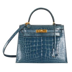 SUPERFIND JF FAVE! HERMES KELLY BAG 28CM BLUE ROI CROC WITH GOLD