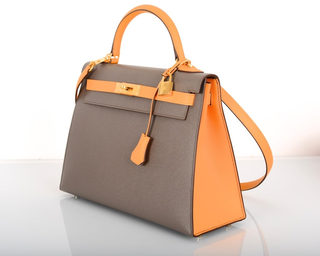 hermes birkin canvas tote bag - Special Order Hermes 32cm Kelly Bag Etain W Jaune Bi Color Horse ...