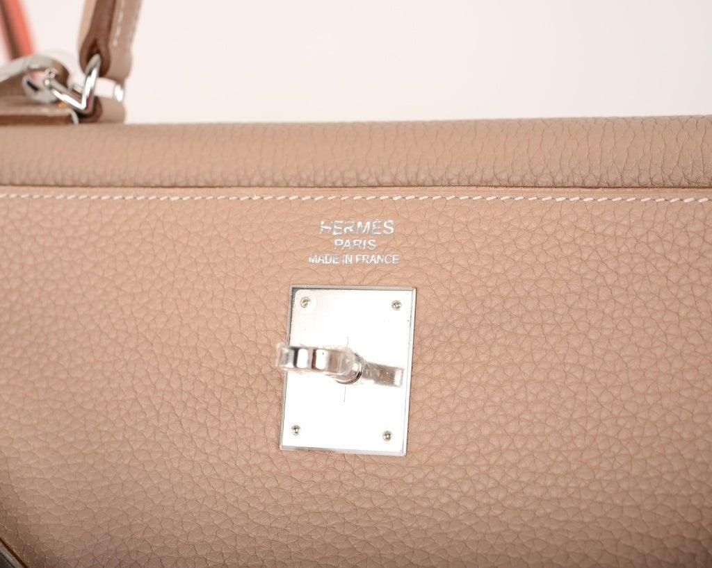 So Rare Hermes Kelly Bag 35cm Argile Clemence Palladium Hw image 9