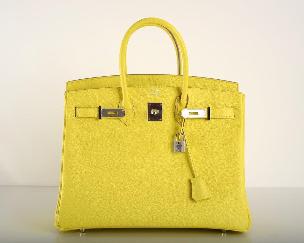 New Yellow Hermes Birkin Bag 35Cm Gorgeous Lime Soufre Epsom Pal ...