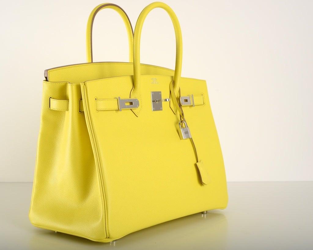 4ce4183f25 birkin alligator bag price - New Yellow Hermes Birkin Bag 35Cm Gorgeous  Lime Soufre Epsom Pal