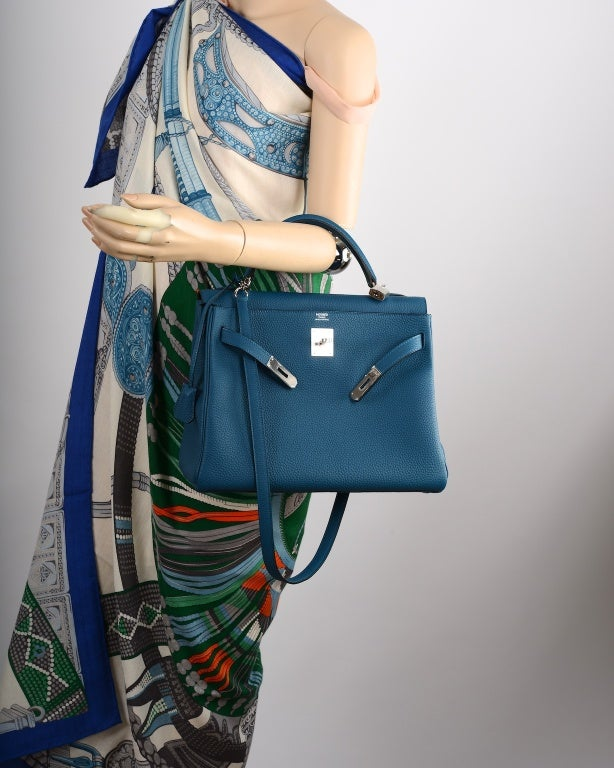 Hermes Kelly Bag 35Cm Blue De Galice With Palladium Togo JaneFinds ...