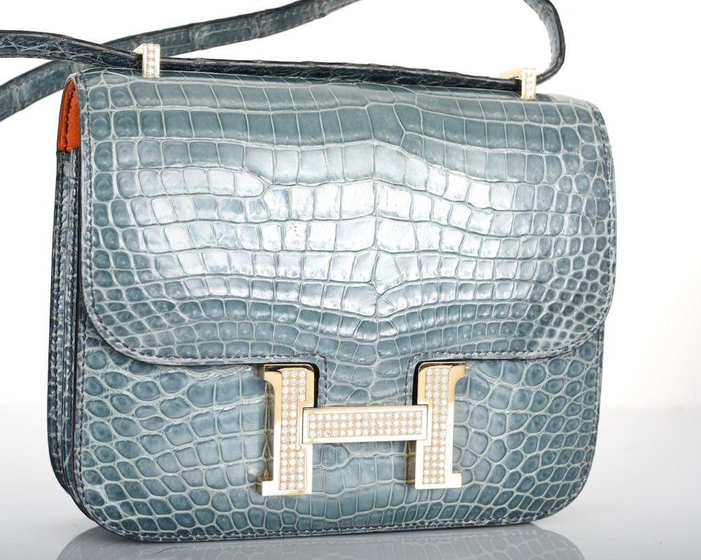 HERMES 18CM DIAMOND WHITE GOLD BLUE JEAN CROCODILE CONSTANCE image 2