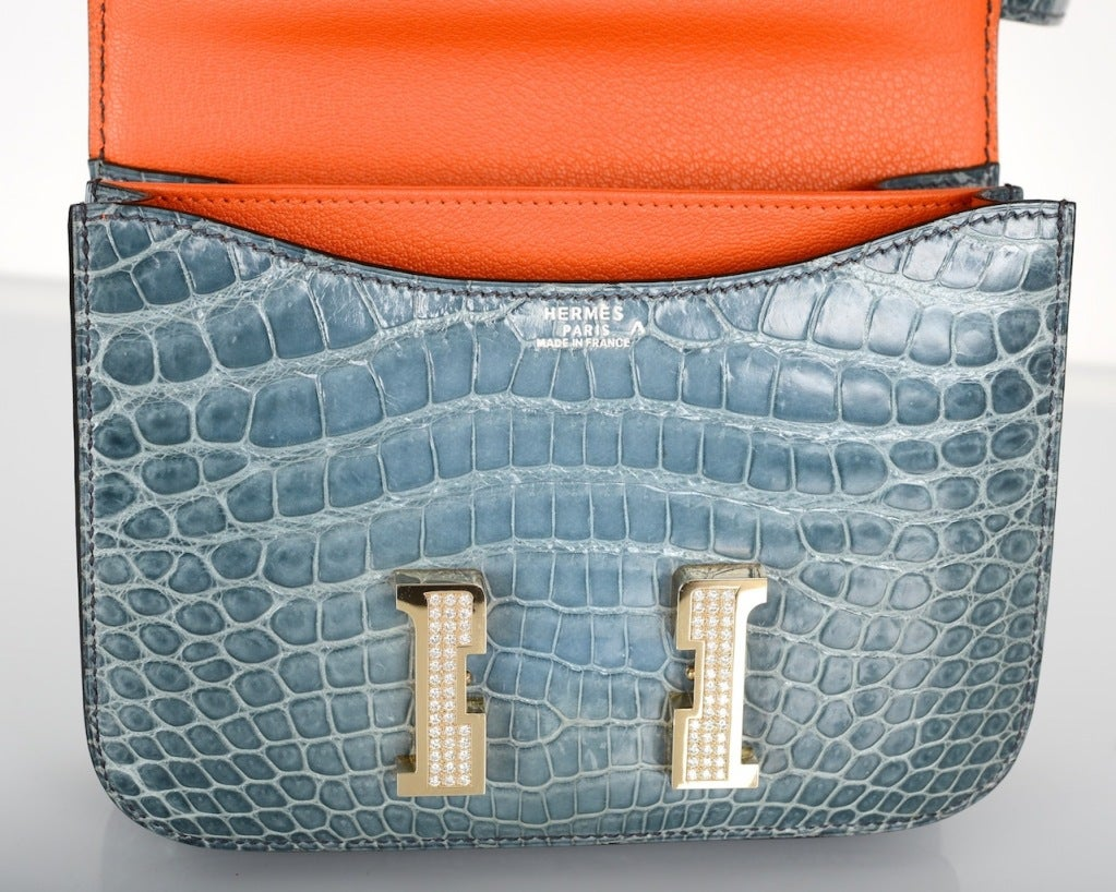 HERMES 18CM DIAMOND WHITE GOLD BLUE JEAN CROCODILE CONSTANCE image 3