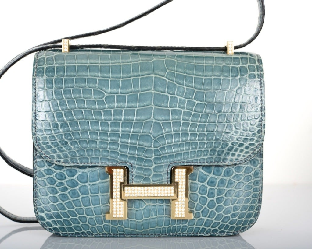 HERMES 18CM DIAMOND WHITE GOLD BLUE JEAN CROCODILE CONSTANCE at ...