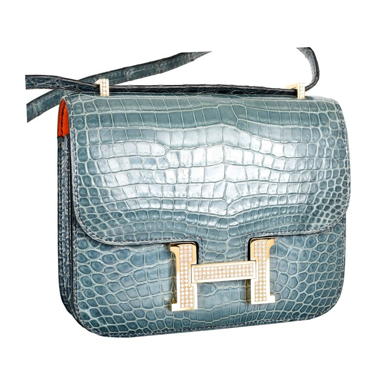 HERMES 18CM DIAMOND WHITE GOLD BLUE JEAN CROCODILE CONSTANCE